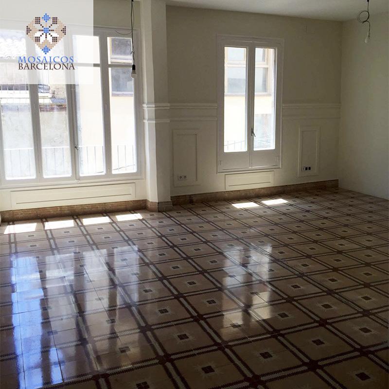 MosaicosBarcelona Pulido de suelos de mosaico hidraulico en vivienda de Cardona