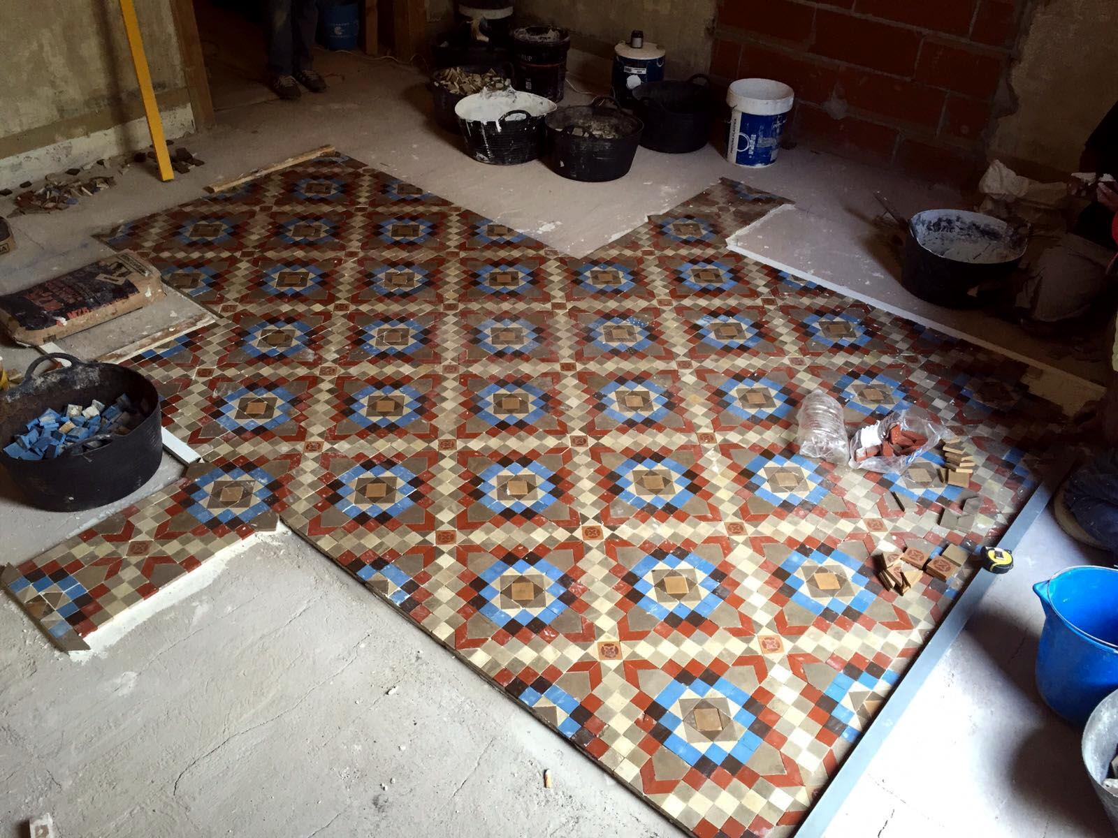 MosaicosBarcelona Recuperacion suelo nolla en vivienda calle Tra